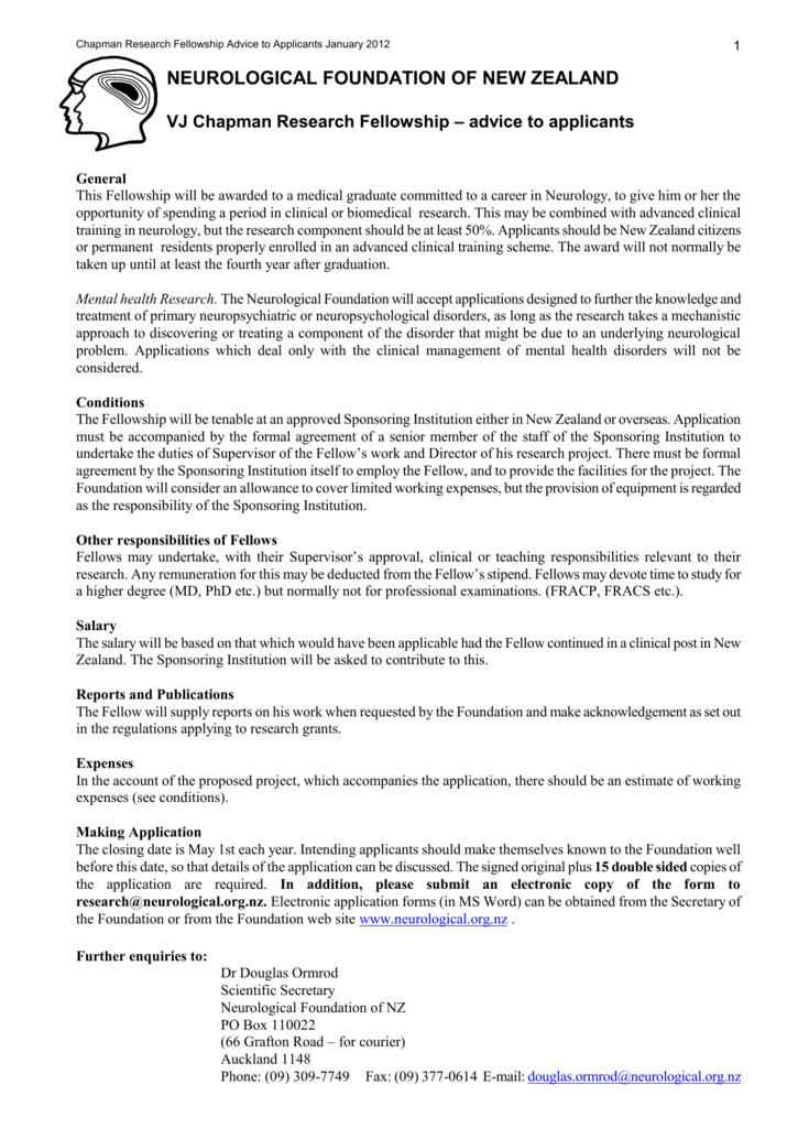 NF Chapman Fellowship advice to applicants