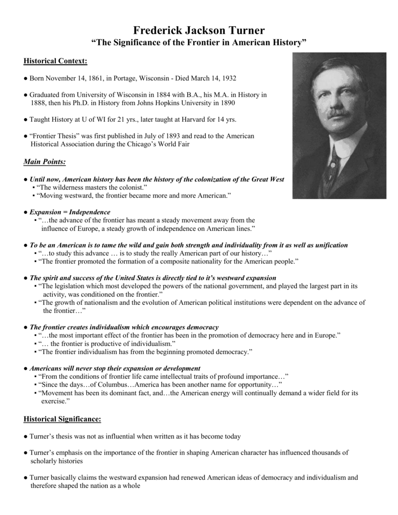 Frederick jackson turner frontier thesis full text professional article review ghostwriter site for university