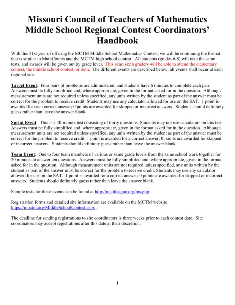 Contest Coordinator Handbook - Missouri Council of Teachers of