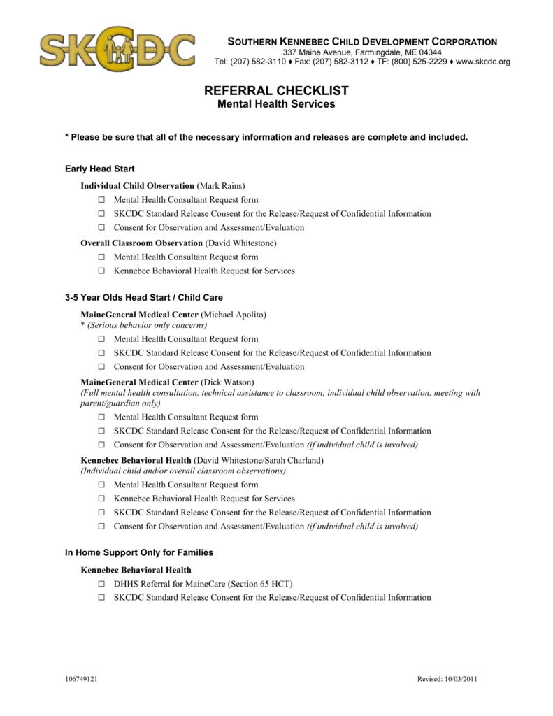 Referral Checklist Mental Health Services