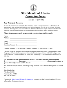 Donation Form - Shiv Mandir Of Atlanta