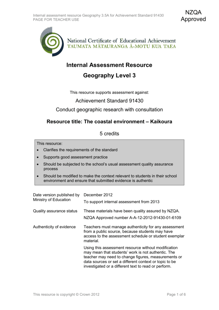 Level 3 Geography internal assessment resource