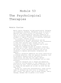 Module 53 The Psychological Therapies Module Preview Mental