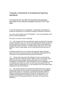 Towards a Framework of Professional Teaching Standards