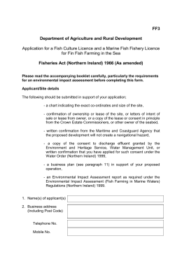 Application for a fish culture licence and a marine fish fishery licence