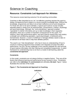 CONSTRAINTS APPROACH TO COACHING SKILL