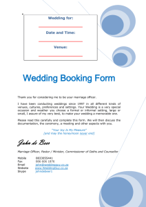 Wedding Booking Forms