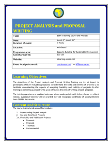 PROJECT ANALYSIS and PROPOSAL WRITING
