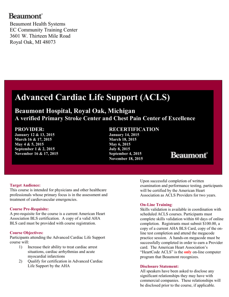 Acls 2015 Michigan Emergency Nurses Association Mena