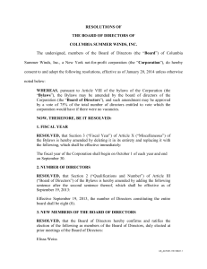 RESOLUTIONS OF THE BOARD OF DIRECTORS OF COLUMBIA