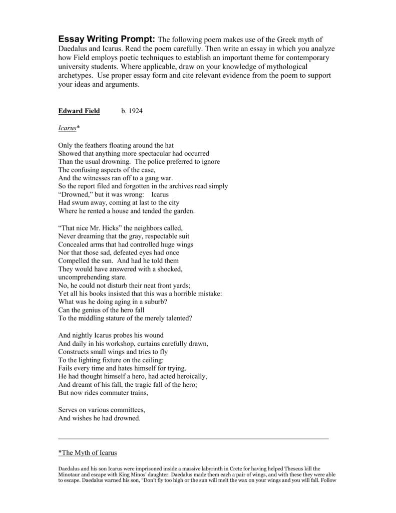 icarus poem edward field