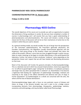 Pharmacology 4E03 Outline