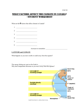 Unit: What factors Affect Climate in Canada -Student