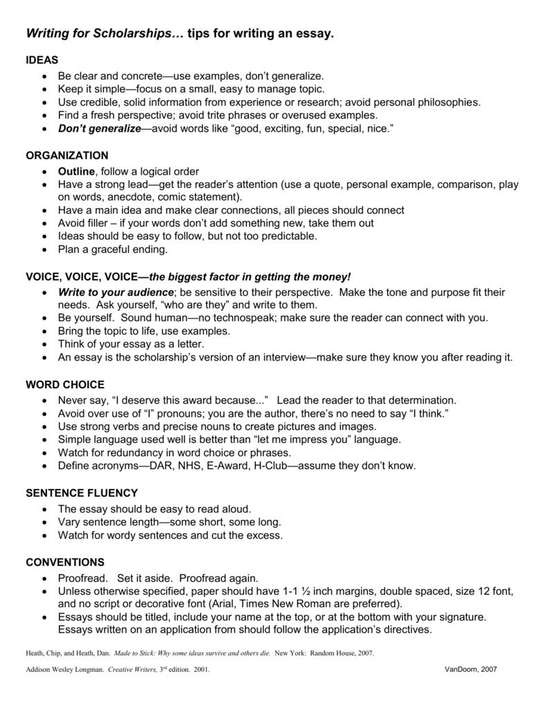 scholarship essay template