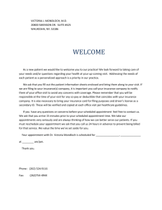 Welcome Letter - Dr. Victoria J. Mondloch