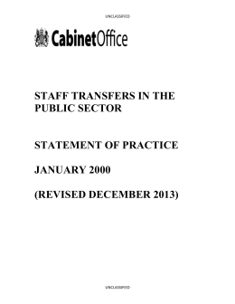STAFF TRANSFERS IN THE PUBLIC SECTOR