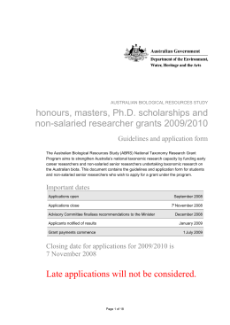 Australian Biological Resources StudY honours, masters, Ph.D
