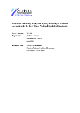 Context of Feasibility Study - STATISTICS TIMOR-LESTE