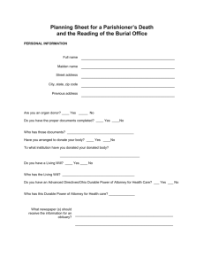 Death and Funeral Planning Document
