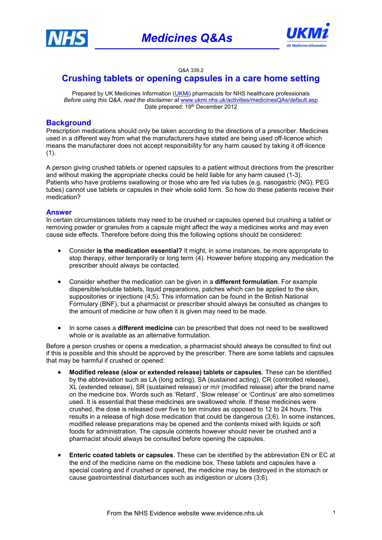 UKMi Q&A xx - NHS Evidence Search