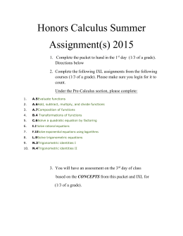 Going to Honors Calculus summer assignment 2015