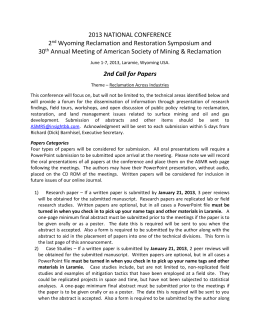 2nd Call for Papers - University of Wyoming