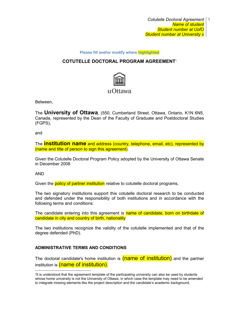 a cotutelle doctoral program agreement