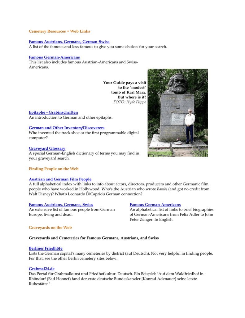 Cemetery Resources • Web Links
