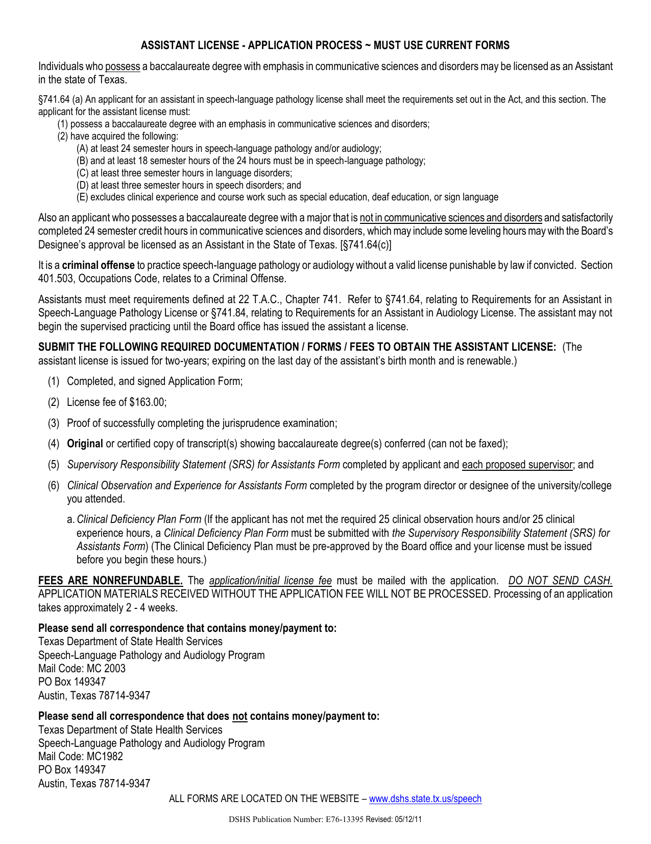 Assistant License Application Process