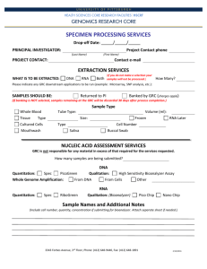 Specimen Processing sample submission form