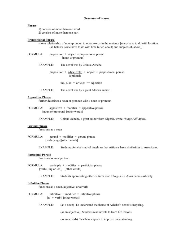 Workbooks prepositional phrase worksheets : Phrases - Alumni