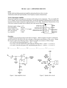 ME 462 - Lab 4 - AMPLIFIER CIRCUITS