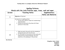 Teaching notes ? words with Latin prefixes