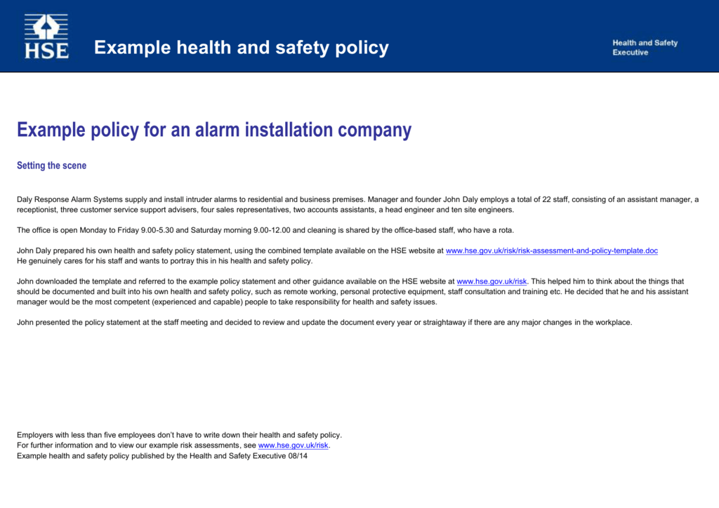 example health and safety policy