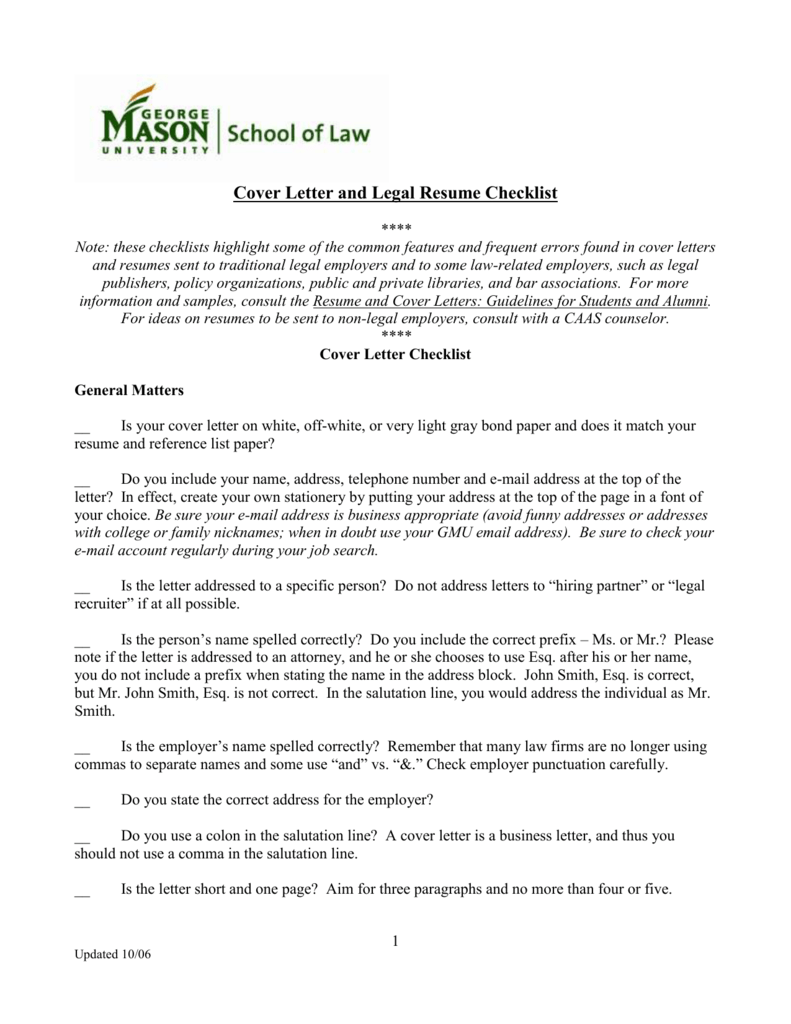 Cover letter checklist george mason university school of law madrichimfo Gallery