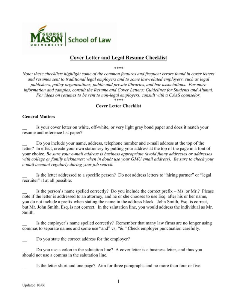 Cover Letter Checklist George Mason University School Of Law
