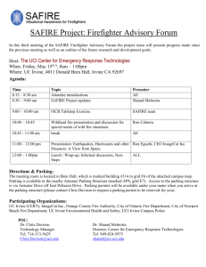 SAFIRE Project: Firefighter Advisory Forum In this third meeting of