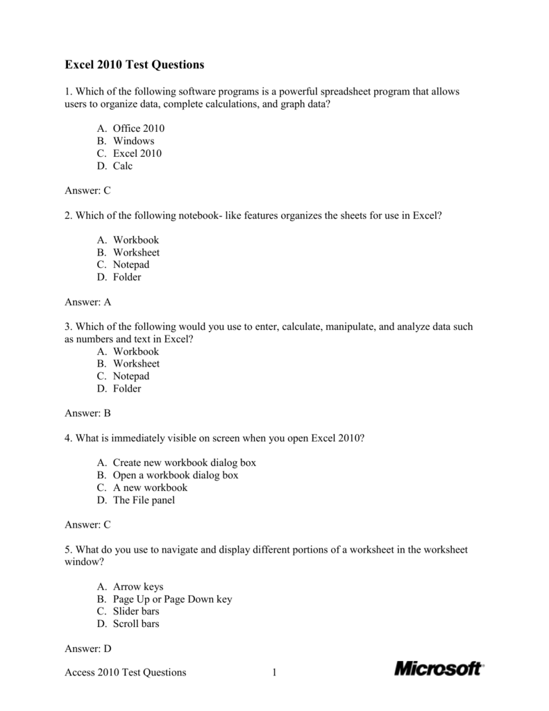 Excel 2010 Test Questions 1 Which Of The Following – Frame of Reference Worksheet