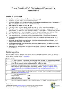 Application form for Travel Grants for PhD Students and Post