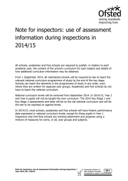 use of assessment information during inspections in 2014/15