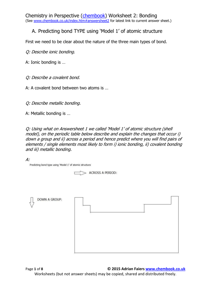 Revision Worksheet 2 A Level Chemistry In Perspective At