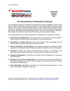Ten Characteristics of Extraordinary Teachers