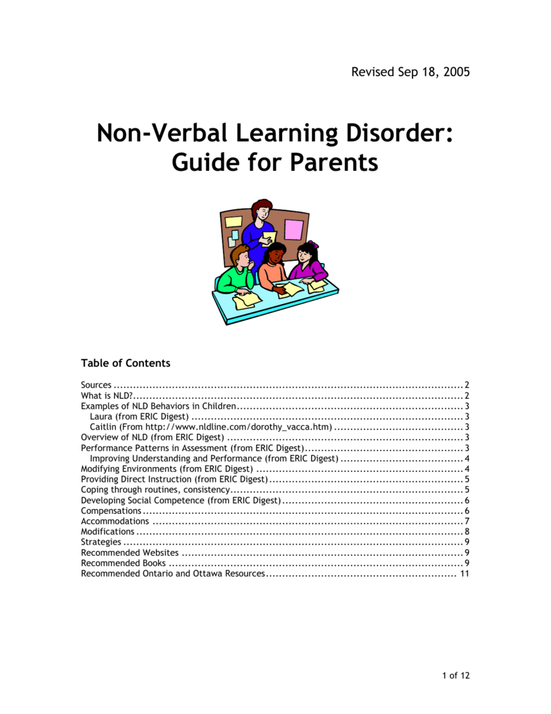 What Is Non Verbal Learning Disorder >> Non Verbal Learning Disorder Guide For Parents