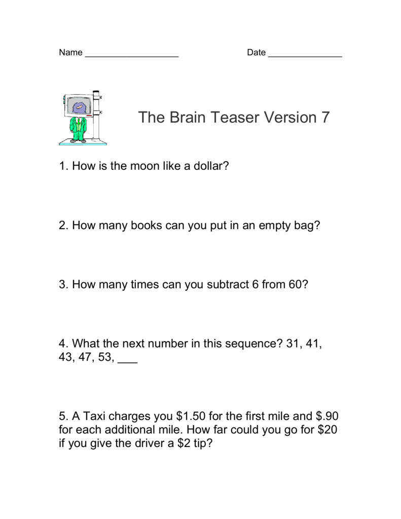 - Math Brain Teasers