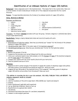 Lab 1: Determining the Formula of a Hydrate CuSO4 • xH2O (s)