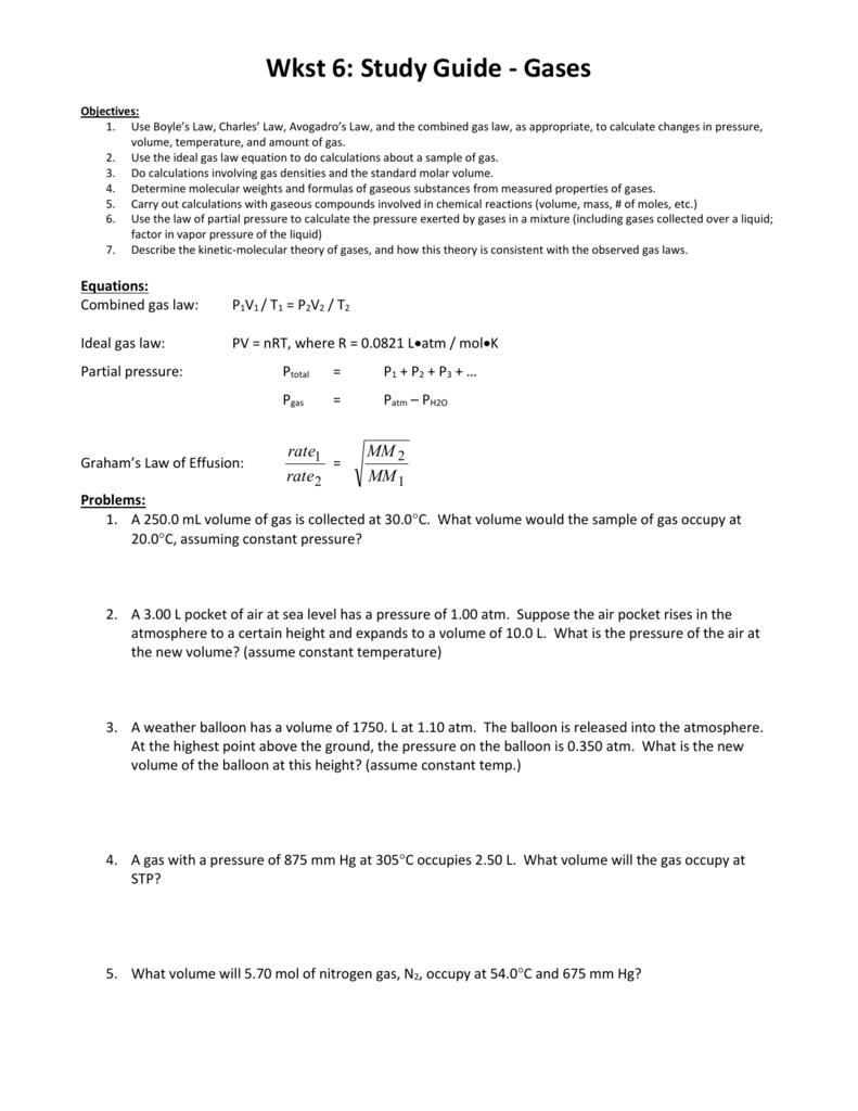 worksheet Behavior Of Gases Worksheet review guide