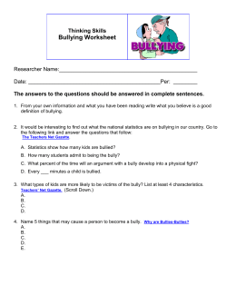 1: Bullying Worksheet
