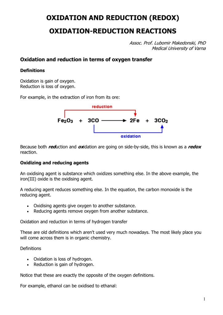 Oxidation And Reduction Redox