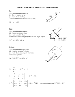 GEOMETRY OF POINTS, RAYS, PLANES AND CYLINDERS