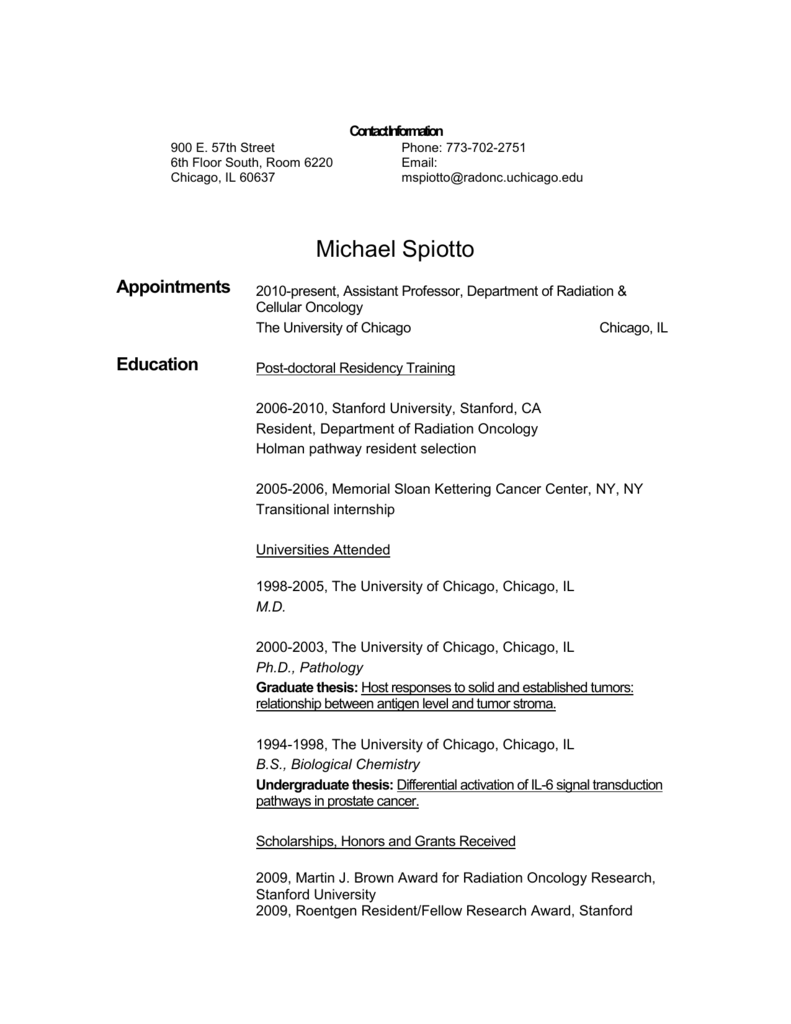 Professional Resume - Radiation and Cellular Oncology